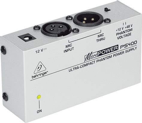 Behringer Ps400 Phantom Power For Microphone Condenser Mic Condensor Behringer Ultra Compact Phantom Power Supply