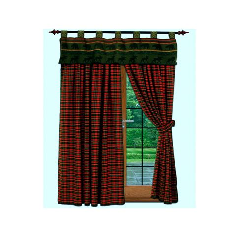 cabin curtains mcwoods cabin red plaid curtains set
