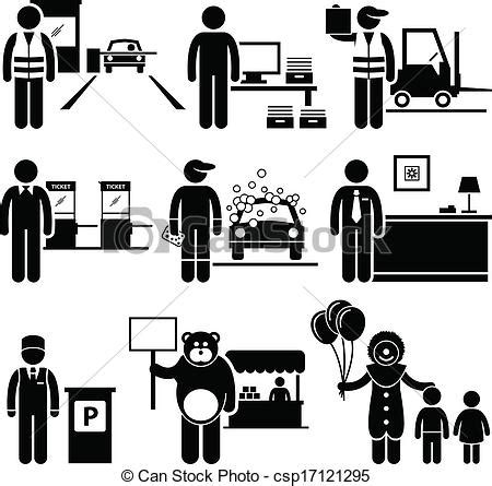 poor low class jobs occupations. a set of human pictograms