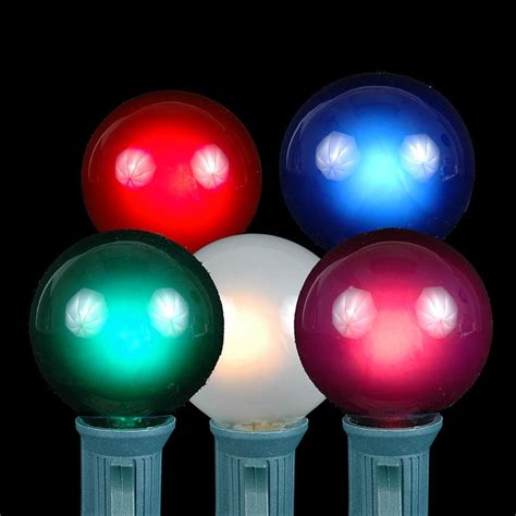 Colored Outdoor Light Bulbs Multi Colored G40 Globe Outdoor String Light Set On White Wire Novelty Lights Inc