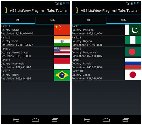 listview themes android implementing listview into actionbarsherlock fragment tabs