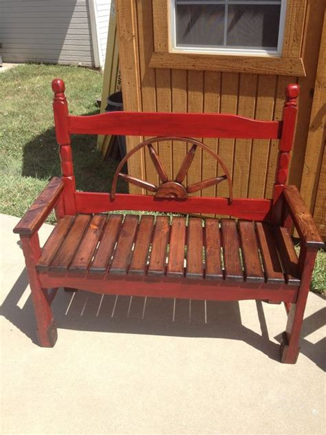wagon wheel headboard red wagon wheel bench headboard benches pinterest