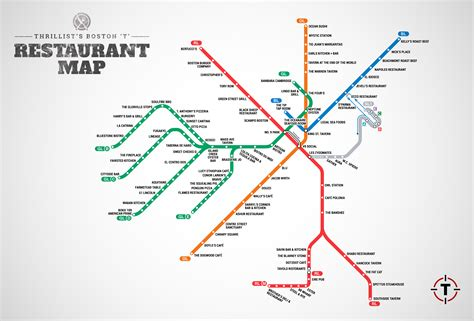 boston map with t stops cool map visualizes the best restaurants for every t stop