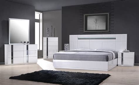 monte carlo queen size white lacquer chrome 5pc bedroom