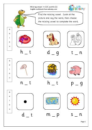 Cvc Words Worksheets by Missing Vowels In Cvc Words 1 Worksheet For Key Stage 1