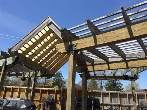 outdoor patio provides shade and sun low tables high