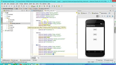 android studio onclick tutorial android programming tutorial2 background change on button