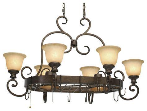 Pot Rack With Lights : Rustic Look Kitchen Lighting
