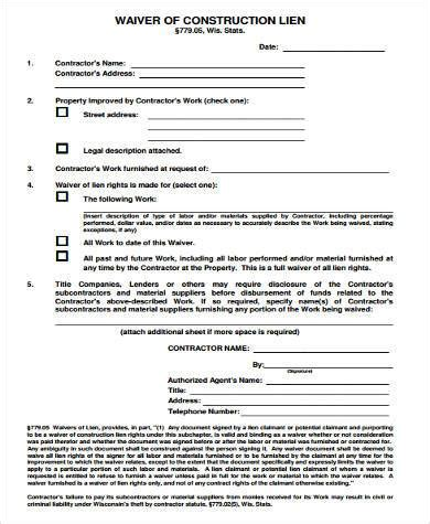 Lien On House by Sle Construction Lien Waiver Forms 8 Free Documents