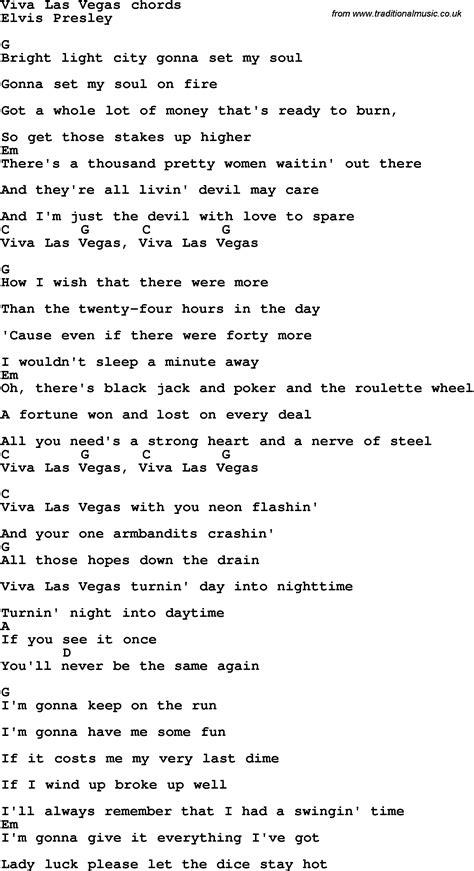 viva lyrics song lyrics with guitar chords for viva las vegas