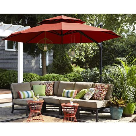 patio set umbrella shop garden treasures offset patio umbrella common