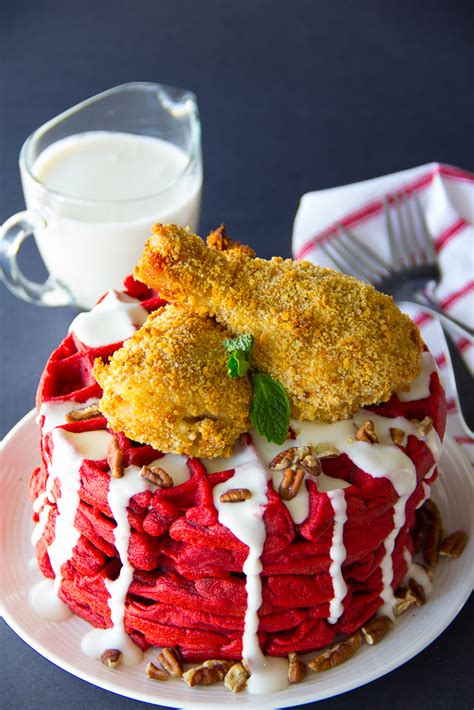 with red velvet chicken and waffles terrace restaurant oven fried chicken red velvet waffles say grace