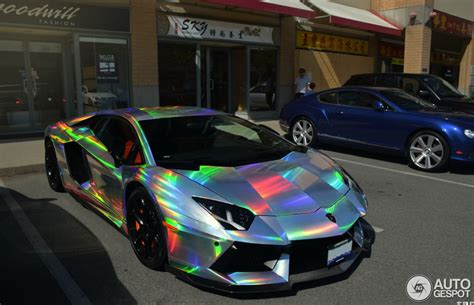 Rainbow Lamborghini Aventador by Lamborghini Aventador Spotted In Mind Warping Holographic Wrap