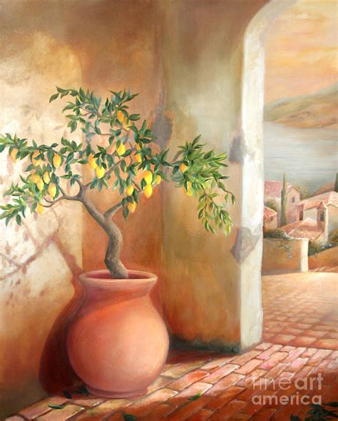 Tree Duvet Cover Tuscan Lemon Tree Painting By Michael Rock
