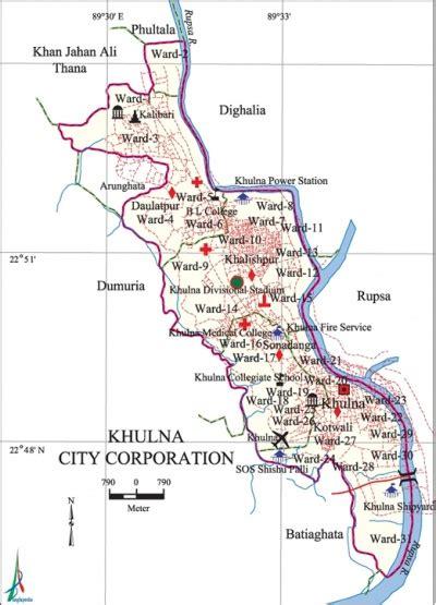 map of khulna city khulna city corporation banglapedia