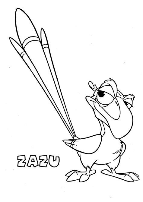 Coloring Pages Zazu | free coloring pages of scar from lion king