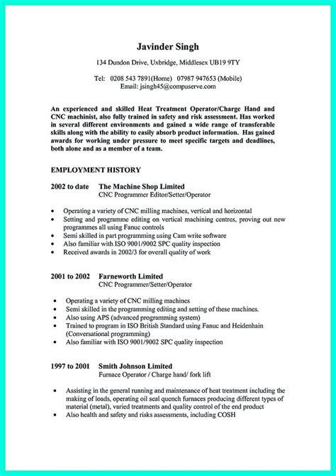 Sle Resume For Machinist by Machinist Resume Skills 28 Images Grader Operator Sle Resume Machine Operator Resume