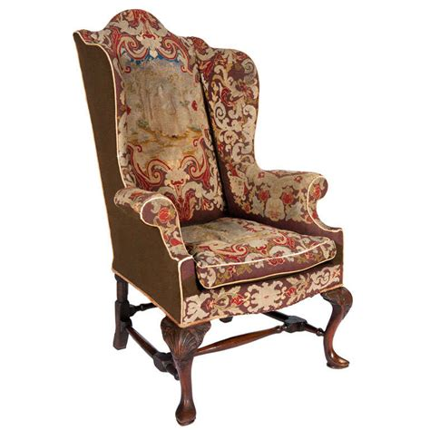 18th century antique reclining wing arm chair at 1stdibs 18th century queen anne walnut wing chair with tapestry