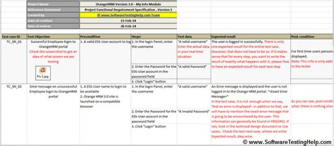test cases template excel test sle simple test with precondition and