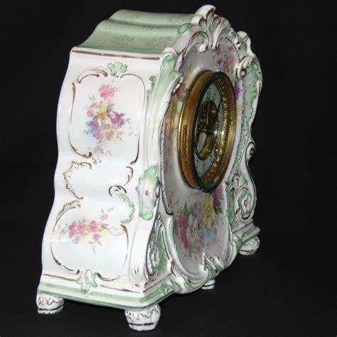 antique ansonia royal bonn porcelain mantel clock from