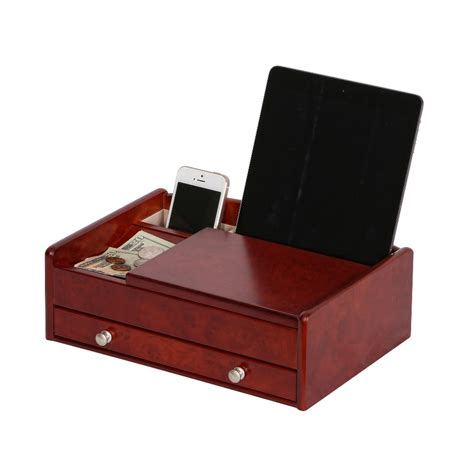 men s dresser top valet jewelry box and accessories organizer davin men s dresser top valet in dark burlwood walnut finish