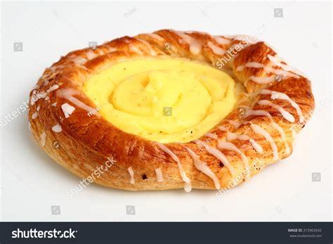 danish pastry custard filling stock photo