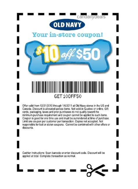 old navy coupons in store canada canadian daily deals old navy 10 off 50 barker s bones