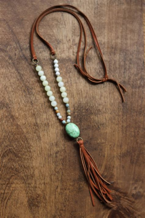 make steunk jewelry boho beaded necklace with camel tassel and green