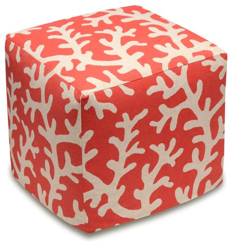 coral ottoman coral patterned coral red linen upholstered ottoman