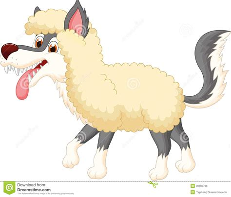 cartoon wolf in sheep clothing stock vector image 39805786