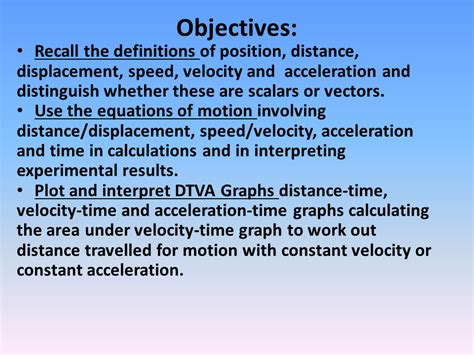 kinematic equations nis grade  physics review