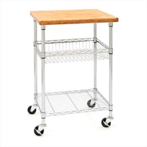 Seville Classics Kitchen Utility Cart With Bamboo Top by Seville Classics She18326 Professional Chef S Table