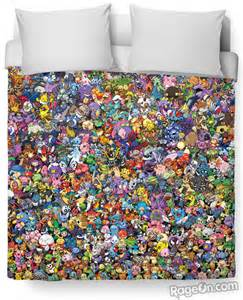 pokemon duvet cover with every single monster geekologie