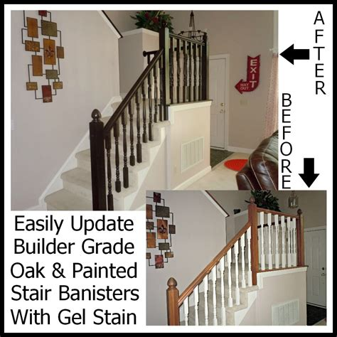 How To Paint A Stair Banister by Updating A Painted Banister With Gel Stain