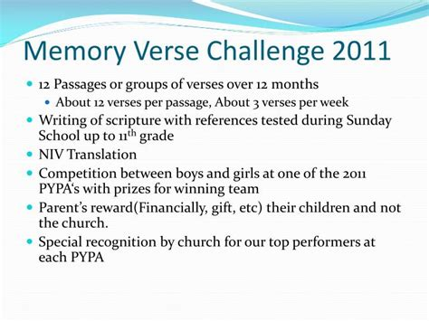 Ppt Memory Verse Challenge 2011 Powerpoint Presentation Id 6160741 Memory Ppt