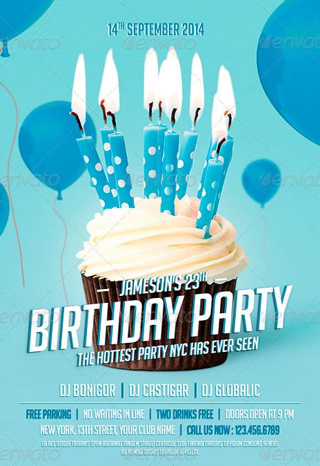 birthday party flyer vector image inspiration of cake