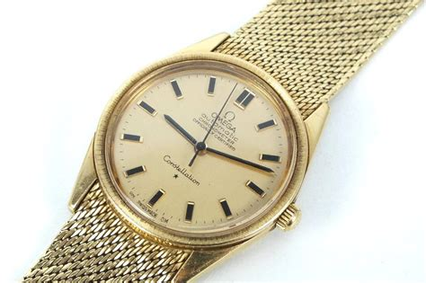 solid gold omega constellation mens 18k wristwatch