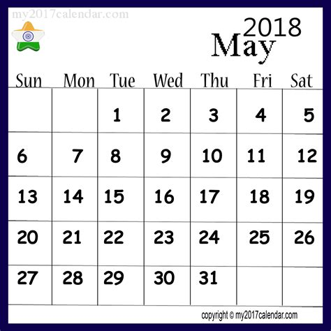 Calendar 2018 Pdf For India May 2018 Calendar India Printable Monthly Calendars