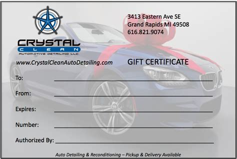 Gift Certificate Crystal Clean Auto Detailing Llc Car Detailing Gift Certificate Templates