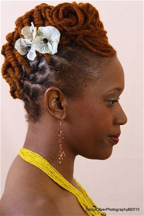 shoo for colored hair brown colored dreadlock updo hairstyle side view