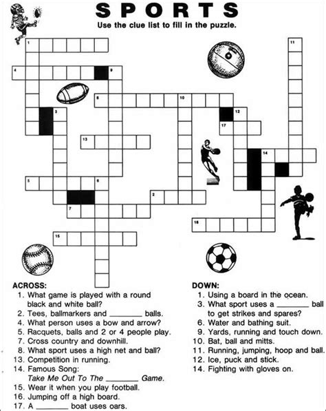 printable puzzle activities printable sports crossword puzzles puzzles pinterest