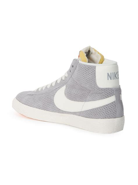nike mid top shoes nike blazer mid top sneakers in gray grey lyst