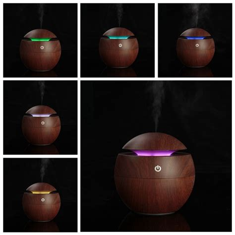 H12 Wooden Essential Aroma Humidifier 7 Color Led Light 400ml usb wooden ultrasonic aroma humidifier air essential diffuser with color changing led l