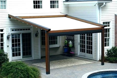 White Canvas Shade Wooden Roofing For Pergola Covers Over