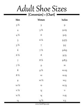 printable shoe size chart for adults adult shoe size conversion chart