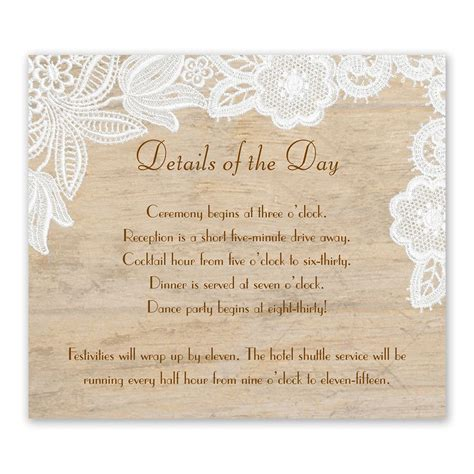 Wedding Invitations With Reception Information by Wood And Lace Information Card Invitations By
