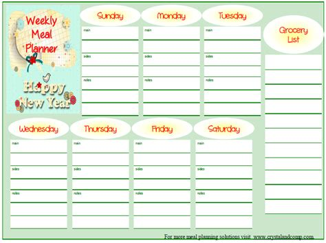 free printable meal planner template free printable weekly meal planner
