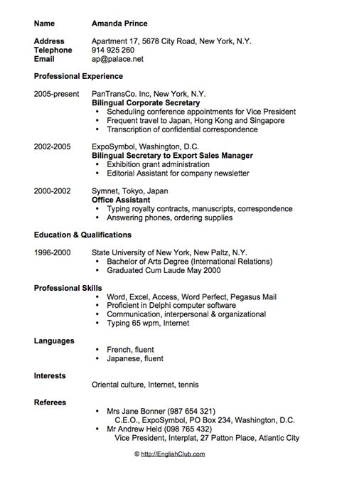 format cv in english sle resume cv for secretary business english