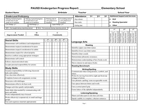 elementary report card template free 3rd gradeprogress report template pausd kindergarten