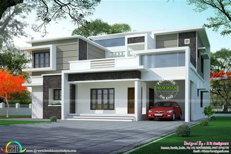 box type home in beautiful style kerala home design and box type flat roof home arch kerala home design and